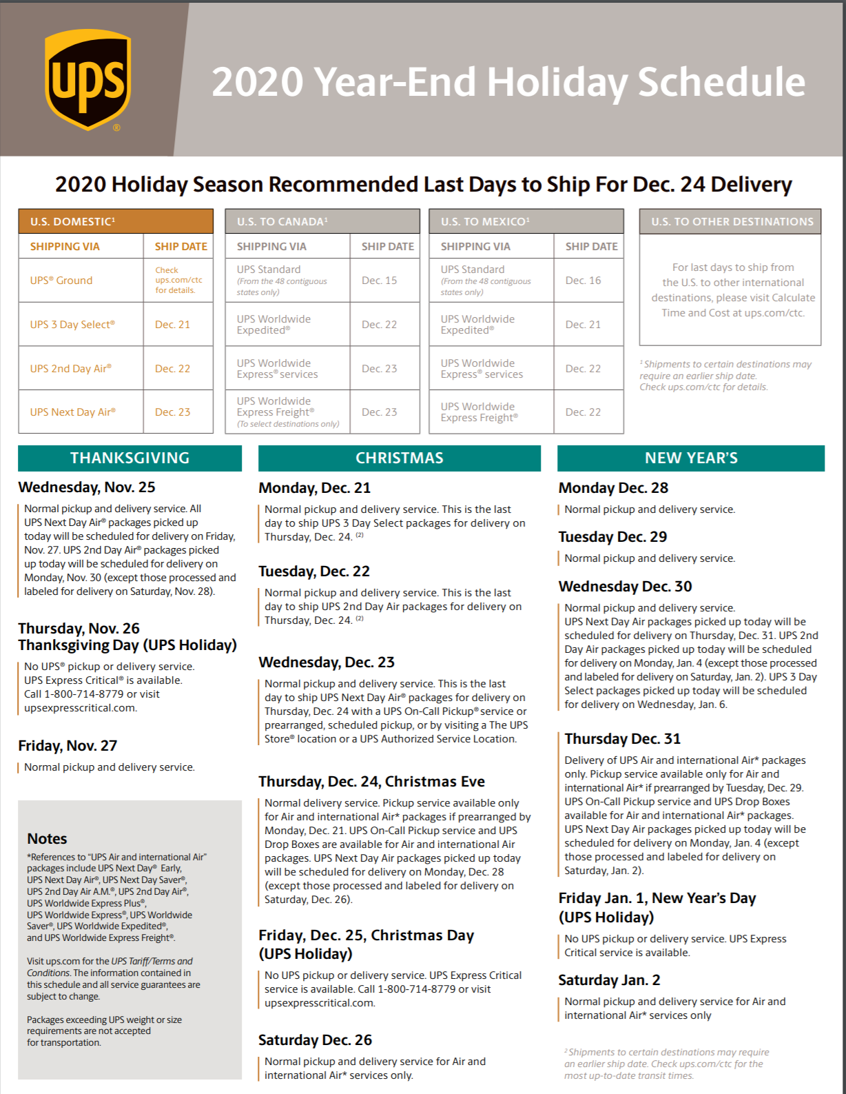 Please Note: 2018 Year-End Holiday Schedule - ASMC Industrial